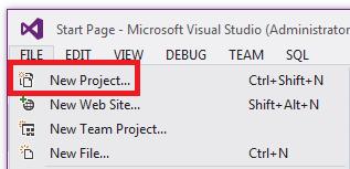 """""""文件""""菜单中的""""新建项目"""""""