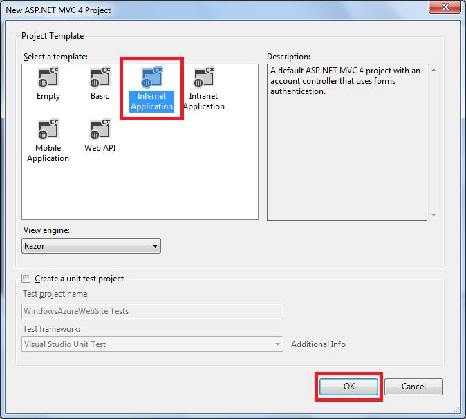 """""""新建 ASP.NET MVC 4 项目""""对话框"""