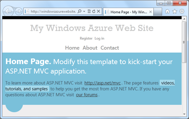 正在 Windows Azure 中运行的 Windows Azure 网站主页
